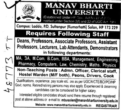 Deans, Professor, Asstt Professor and lab attendent etc (Manav Bharti University (MBU))