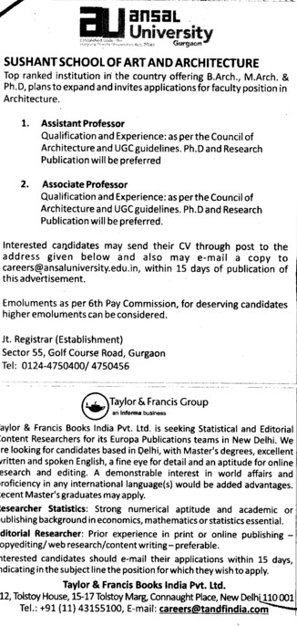 Asstt Professor and Associate Professor (Ansal University)