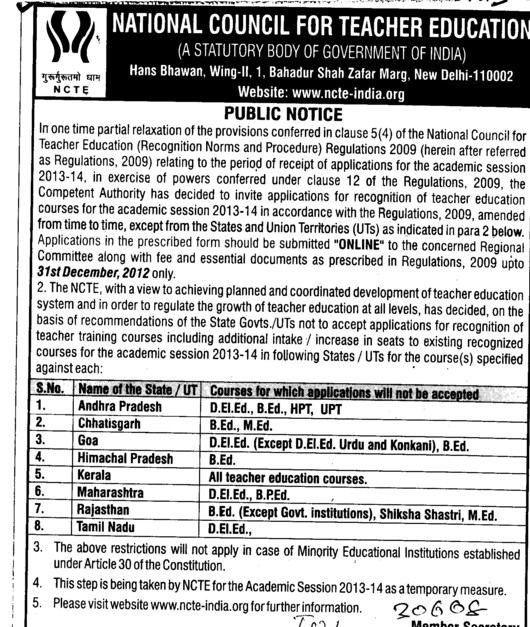 Applications for recognition of techer education 2013 (National Council for Teacher Education NCTE)