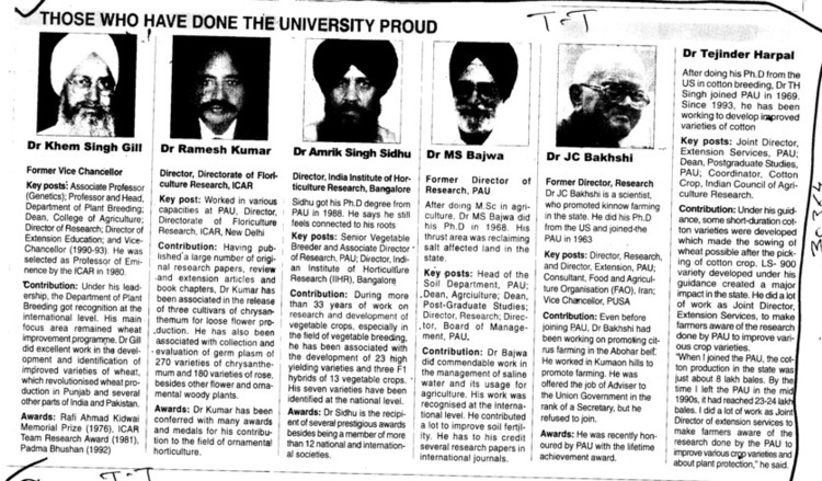 Those who have done the University proud (Punjab Agricultural University PAU)