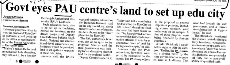 Govt eyes PAU centres land to set up edu city (Punjab Agricultural University PAU)