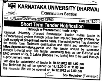 Supply of pre printed marks cards (Karnatak University)