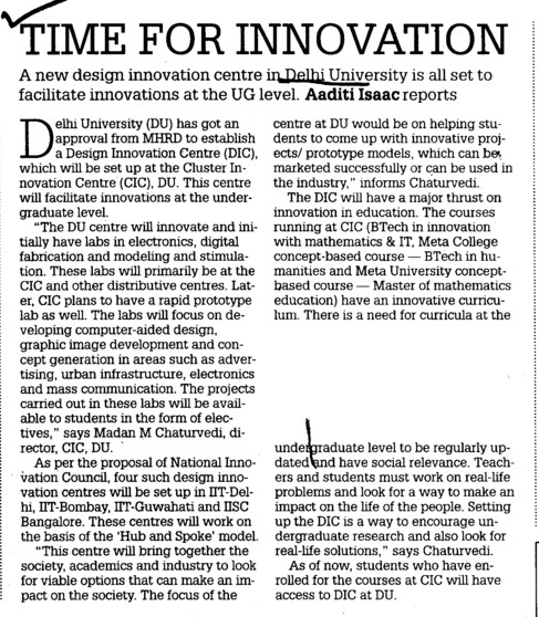 Time for Innovation (Delhi University)