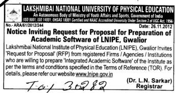 Preparation of Academic software (Lakshmibai National University of Physical Education (LNUPE))