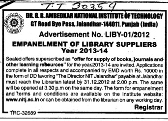 Library Suppliers (Dr BR Ambedkar National Institute of Technology (NIT))