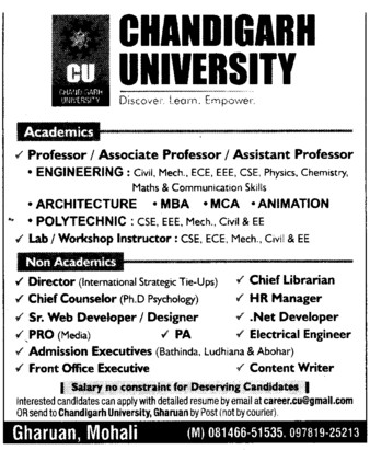 Professor, Asstt Professor and Associate Professor (Chandigarh University)