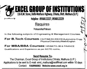 Professor and Astt Professor for BBA and MBA (Excel Group of Institutions)