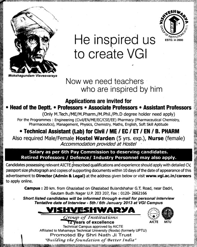 Technical Asstt (Vishveshwarya Group of Institutions (VGI))