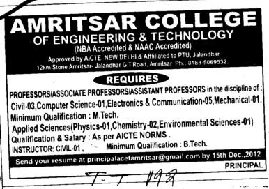 Professor, Asstt Professor and Associate Professor (Amritsar College of Engineering and Technology ACET Manawala)