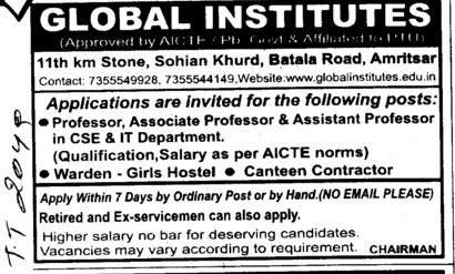 Professor, Asstt Professor and Associate Professor (Global Institutes Group)
