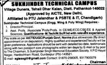 Director, Principal and Associate Professor (Sukhjinder Group of Institutes)