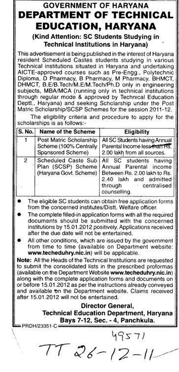 Scheduled Caste Sub plan SCSP (Directorate of Technical Education Haryana)