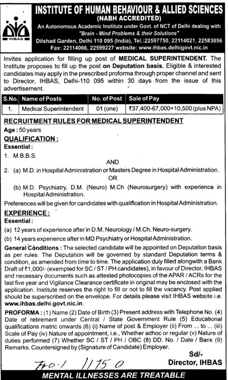 Medical Superintendent (Institute of Human Behaviour and Allied Sciences)