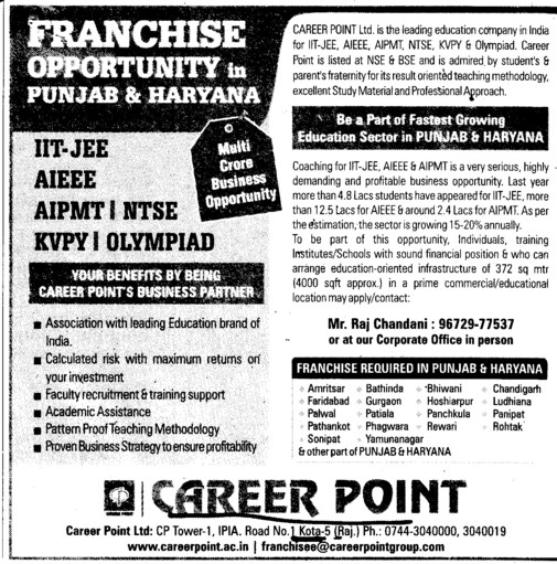 Franchise Opportunity in Punjab and Haryana (Career Point Kota)