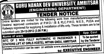 Supply and Installation of lifts (Guru Nanak Dev University (GNDU))