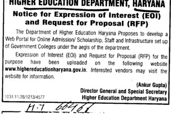 Request for Proposal (Department of Higher Education Haryana)