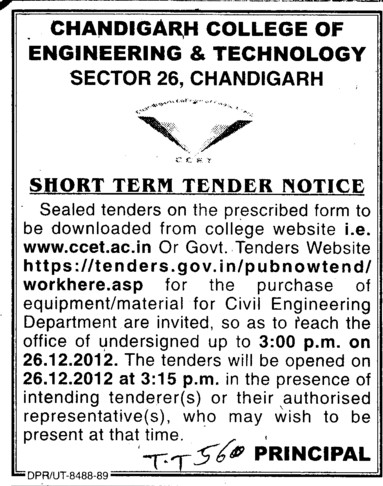 Purchase of material for Civil Engg (Chandigarh College of Engineering and Technology (CCET))