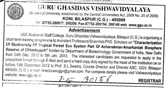 Asstt Professor and Scientists etc (Guru Ghasidas University)