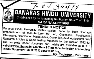 Filter papers and Glasswares etc (Banaras Hindu University)