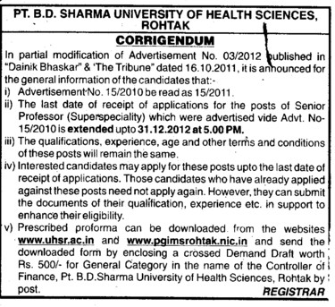 Extension of dates (Pt BD Sharma University of Health Sciences (BDSUHS))