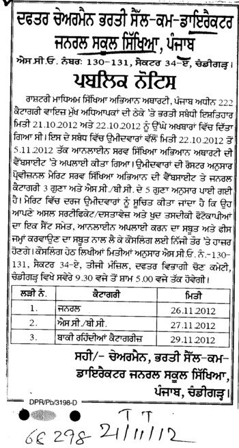 Headmasters on contract basis (Director General School Education DGSE Punjab)