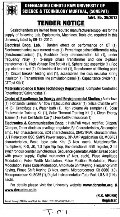 Supply of the Lab Equipments (Deenbandhu Chhotu Ram University of Science and Technology)