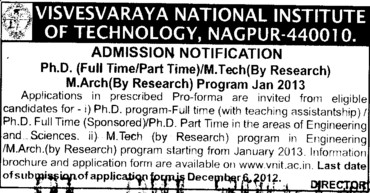 MTech and PhD Courses (Visvesvaraya National Institute of Technology (VNIT))