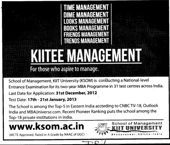 National Level Entrance Examination for MBA (KIIT University)