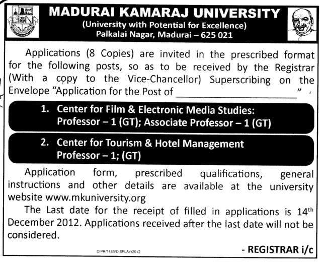 Centre for Film and Elctronic Media Studies Professor etc (Madurai Kamaraj University)
