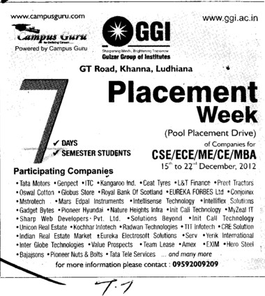 Placement Drive for BTech trades (Gulzar Group of Instituties Khanna)