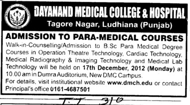 Para Medical Courses (Dayanand Medical College and Hospital DMC)