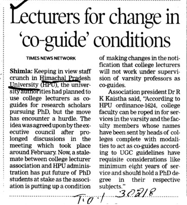 Lecturers for change in co guide conditions (Himachal Pradesh University)