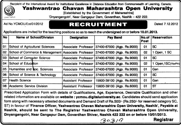 Associate Professor for SC and ST etc (Yashwantrao Chavan Maharashtra Open University (YCMOU))