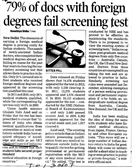 79 percent of docs with foreign degrees fail screening test (Medical Council of India (MCI))