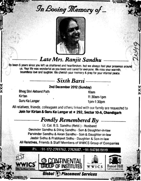 In Loving memory of Late Mrs Rajnit Sandhu (Continental Group Institute Jalvehra)