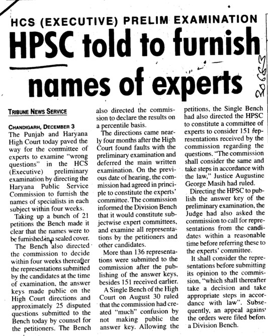 HPSC told to furnish names of experts (Haryana Public Service Commission (HPSC))