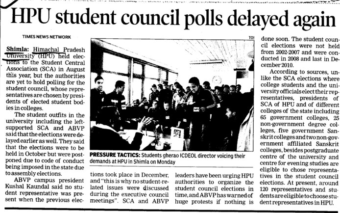 HPU student council polls delayed again (Himachal Pradesh University)