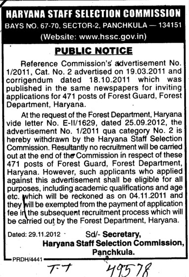 Regarding the post of Forest Guard (Haryana Staff Selection Commission (HSSC))