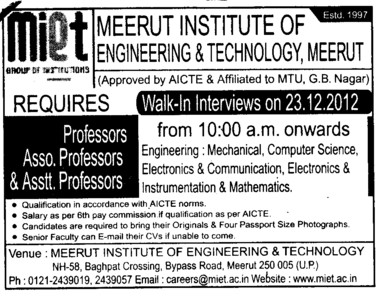 Professor, Asstt Professor and Associate Professor (Meerut Institute of Engineering and Technology MIET)
