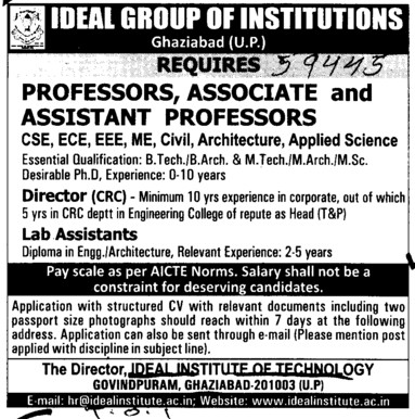 Director and Lab Asstt etc (Ideal Group of Institutions)