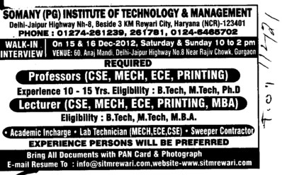 Academic Incharge, Lab Technician and Lecturer etc (Somany Institute of Technology and Management (SITM))