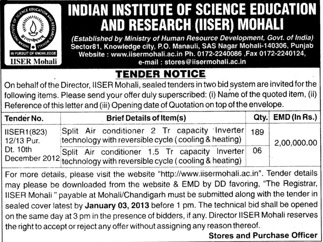 Split Air Conditioners (Indian Institute of Science Education and Research (IISER))