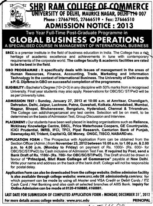 PG Programme in Global Business Operations (Shri Ram College of Commerce)