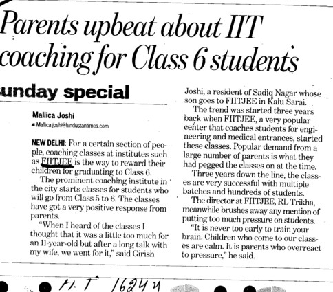 Parents upbeat about IIT Coaching for class 6 students (FIITJEE)