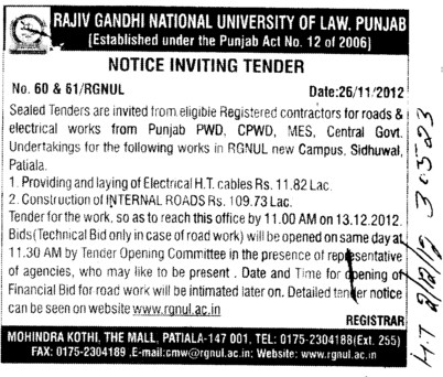 Electrical HT Cables etc (Rajiv Gandhi National University of Law (RGNUL))