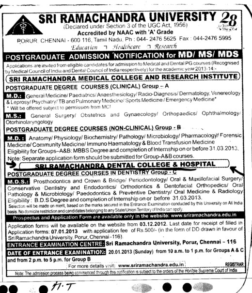 MD and MS Courses (SRM University)