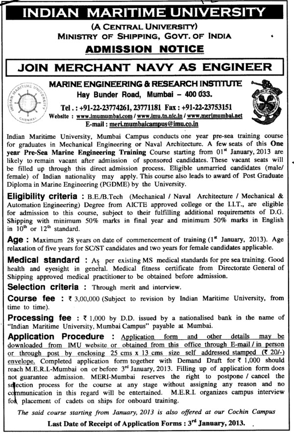 One year Pre Sea Marine Engg Training (Indian Maritime University)