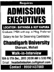 Admission Executives (Chandigarh University)