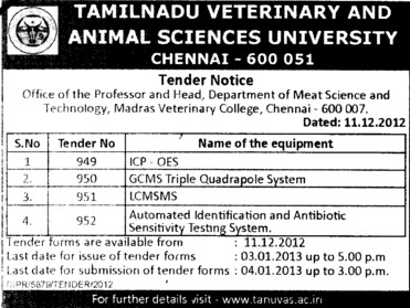 LCMSMS and Sensivity Testing Machine etc (Tamil Nadu Veterinary And Animal Sciences University TANUVAS)