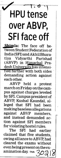 HPU tense over ABVP, SFI face off (Himachal Pradesh University)
